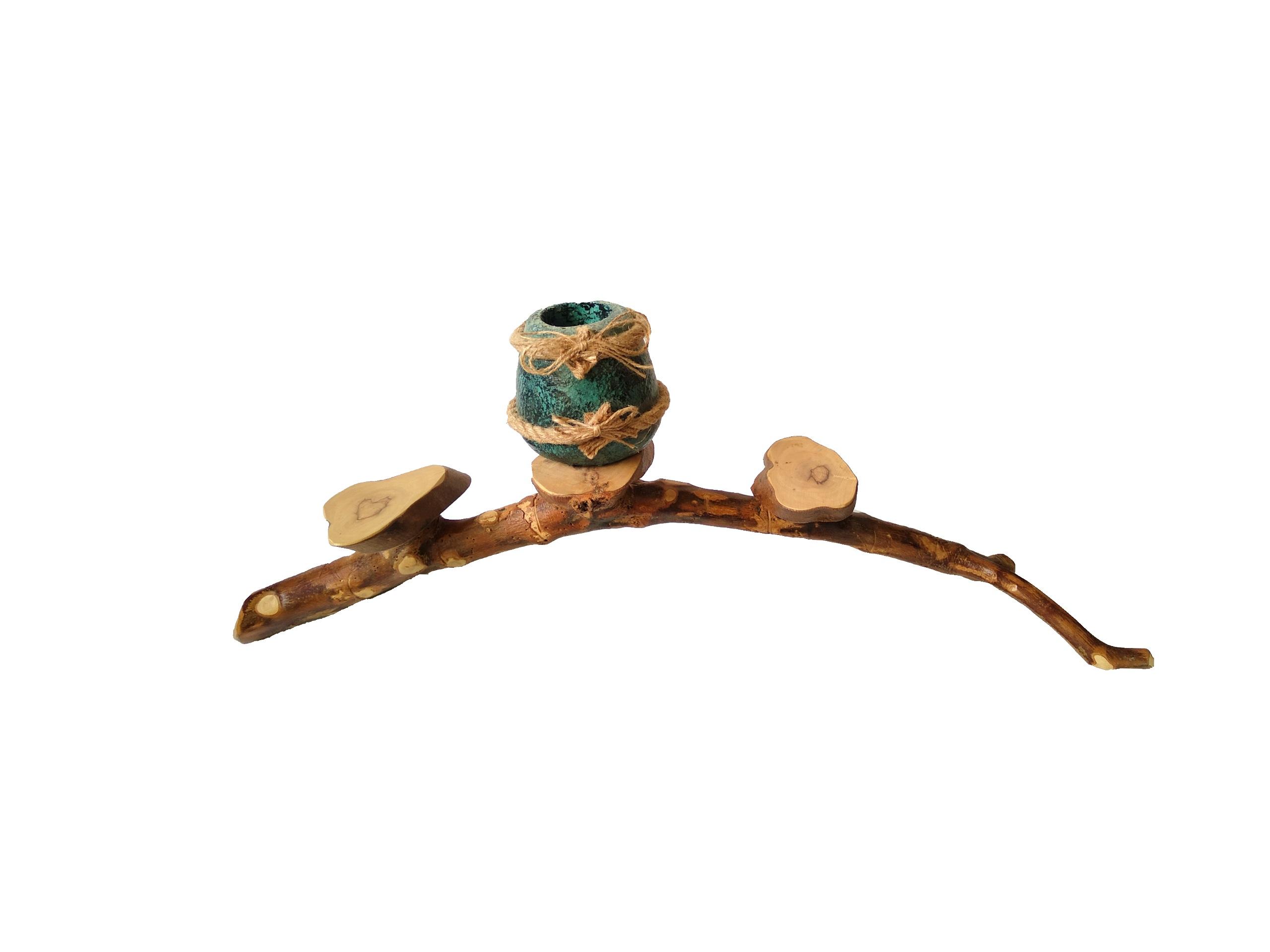 Βάση για κεριά από ξύλο ελιάς CAN04